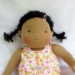 14(36 cm) Waldorf Doll Baby Girl. African American Dark Skinned doll