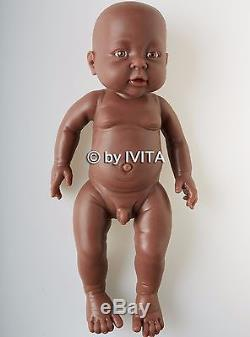 16'' 2kg Silicone African American Black Reborn Baby Doll Boy Lifelike Infant