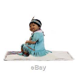 17'' African American Indian Baby Doll Black Silicone Vinyl Reborn Newborn Dolls