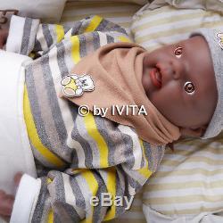 18'' 3.8kg African American Baby Doll Black Boy Full Silicone Body Reborn Baby