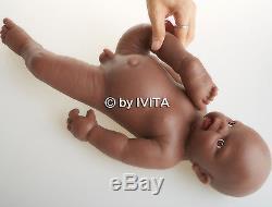 18'' 3.8kg African American Full Body Soft Solid Silicone Reborn Doll Baby Boy