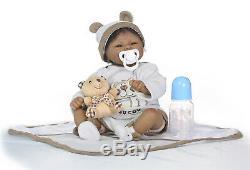18 Reborn Baby Dolls Biracial Newborn Dolls Boy African American Black Skin
