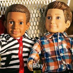 18 boy doll set, caucasian & african american, American Girl doll companion new