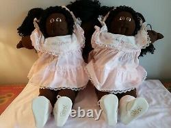1986 CABBAGE PATCH KIDS 22 Little People Soft Sculpture TWINS, African American