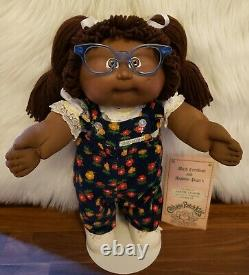 1986 Cabbage Patch Kid African American-Double Ponies-Glasses-Clothes