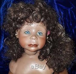 1988 African American Blue Eyed Girl By Rot Raut Schrott Doll 25 T