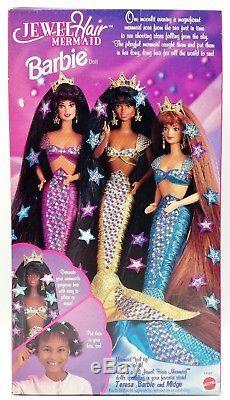1995 Jewel Hair Mermaid Barbie Doll African American AA No. 14587 NRFB