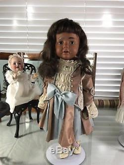19 Antique German Bisque Head 237 Kestner Black Hilda Doll Rare Toddler Body