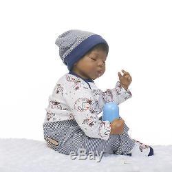20'' African American Biracial Reborn Doll Newborn Lifelike Baby Boy Vinyl Doll