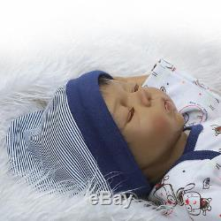 20''Handmade African American Baby Doll Black Silicone Reborn Newborn Sleep Doll