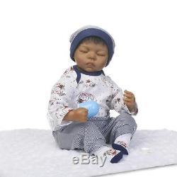 20''Handmade African American Baby Doll Black Silicone Sleep Reborn Newborn Doll