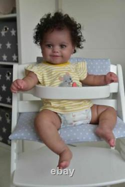 20inch Reborn Baby Girl Maddie Black Skin African American Baby Hand Rooted Hair