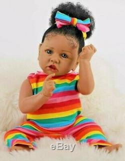 22.8 Realistic Reborn Silicone Vinyl African American Girl Doll with Rooted Hair