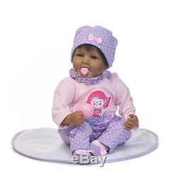 22 African American Ethnic Doll Realistic Reborn Baby Girl Lifelike Black Hair