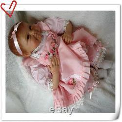 22'' African American Girl Doll Silicone Reborn Newborn Black Doll Handmade