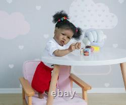 22'' African American Reborn Dolls Silicone Full Body Toddler Biracial Baby Girl