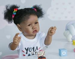 22'' African American Reborn Dolls Silicone Full Body Toddler Biracial Baby Girl