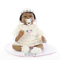 22'' Baby Cute African American Doll Silicone Vinyl Reborn Newborn Black Doll