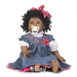 22'' Bebe Reborn Baby Dolls Soft Silicone Vinyl Lifelike African American Dolls