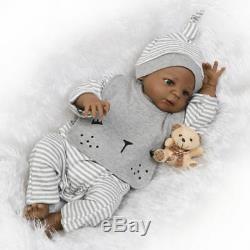 22 Black African American Reborn Baby Doll Boy Vinyl Silicone Baby Full Body