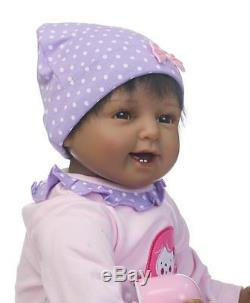 22 Black African American Silicone Vinyl Reborn Baby Doll+clothes+Pacifier