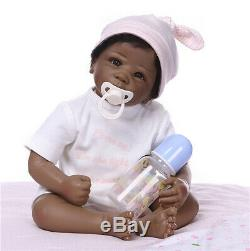 22'' Black Biracial Reborn Baby Doll Girl African American Realistic Xmas Gift