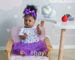 22 Black Reborn Baby Dolls Girl Lifelike Reborn Toddler Babies African American