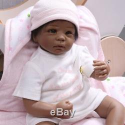 22'' Cute Biracial Reborn Baby Dolls Lifelike African American Baby Girl Doll