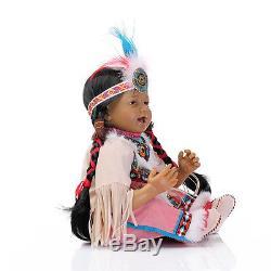 22''Handmade African American Baby Doll Black Silicone Vinyl Reborn Newborn Doll