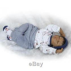 22'' Handmade African American Doll Silicone Vinyl Reborn Newborn Black Doll Toy