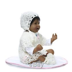 22''Handmade African American Girl Doll Silicone Vinyl Reborn Newborn Black Doll