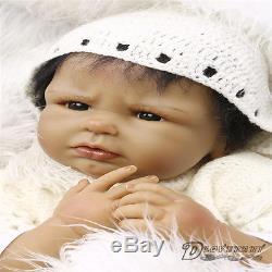 22''Handmade Cute African American Doll Silicone Vinyl Reborn Newborn Black Doll