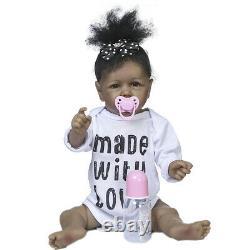 22 Newborn Doll African American Baby Girl Silicone Full Body Reborn Baby Dolls