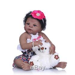 22 Reborn African American Doll Full Body Silicone Baby Dolls that looks Real