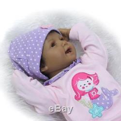 22 Reborn Baby Doll Lifelike Black African American Silicone Vinyl Smile Girl