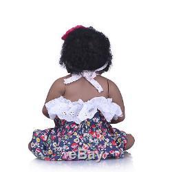 22'' Reborn Baby Girl Doll Black African American Full Body Silicone Ethnic Doll