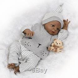 23 Biracial Reborn Full Body Silicone Doll African American Lifelike Baby Boy