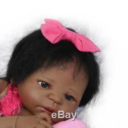 23 Black Cute Newborn Baby Silicone Full Body Reborn Doll African American Girl