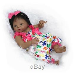 23 Black Reborn Baby Dolls Girl Silicone Full Body African American Toddler Toy
