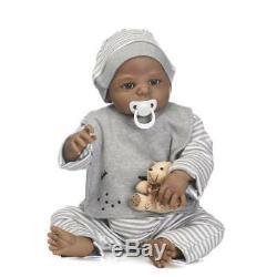 23in Bathable Life Like Black Newborn Reborn Baby Dolls Full Body Silicone Vinyl