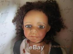 24 Kaye Wiggs Molly African American porcelain doll withstand Mint in Box 1996