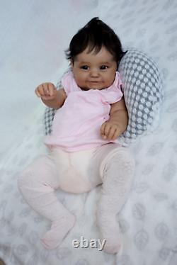 50CM Soft Body Black Skin African American Baby Maddie Reborn Baby Girl Flexible