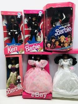 6pc 1980s African American Barbie Lot Marine Corps, Unicef, Wedding & Birthday