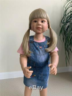 87CM Reborn Baby Toddler Girl Doll Real Child Size Full Vinyl Body Can Stand