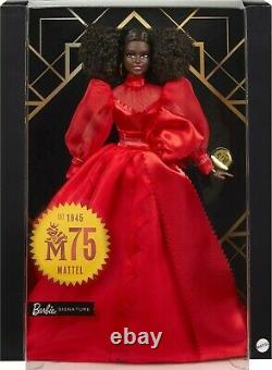 AA Barbie Collector Mattel 75th Anniversary Doll Red Gown Model Muse MINT WShip