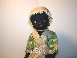 AFRICAN AMERICAN CHILD VINTAGE BLACK AMERICANA DOLL with DOLL Primitive