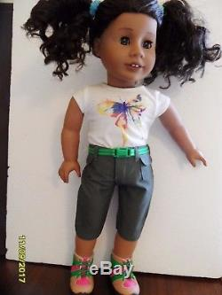 AMERICAN GIRL DOLL African American Curly Brown Hair + Two New Outfits