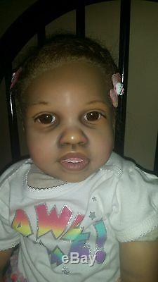A/A, African American, biracial, reborn toddler. Timone by Jannie de Lange