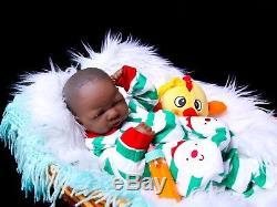 Adorable African American Reborn Baby Boy Doll Full Vinyl Baby Preemie Life like