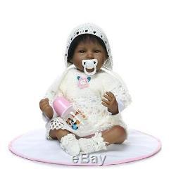 African American 22'' Handmade Lifelike Reborn Baby Silicone Vinyl Newborn Doll